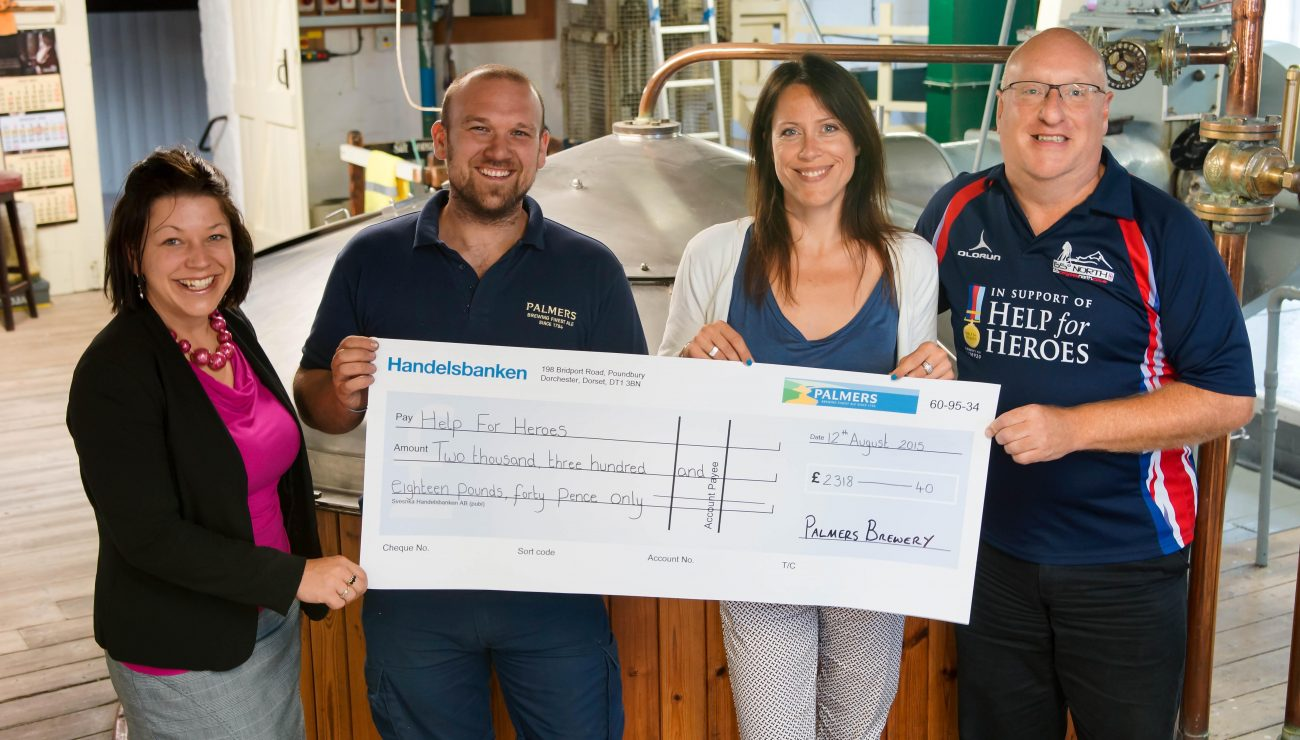 Palmers Brewery events team supporting Help for Heroes with £2300 donation.
