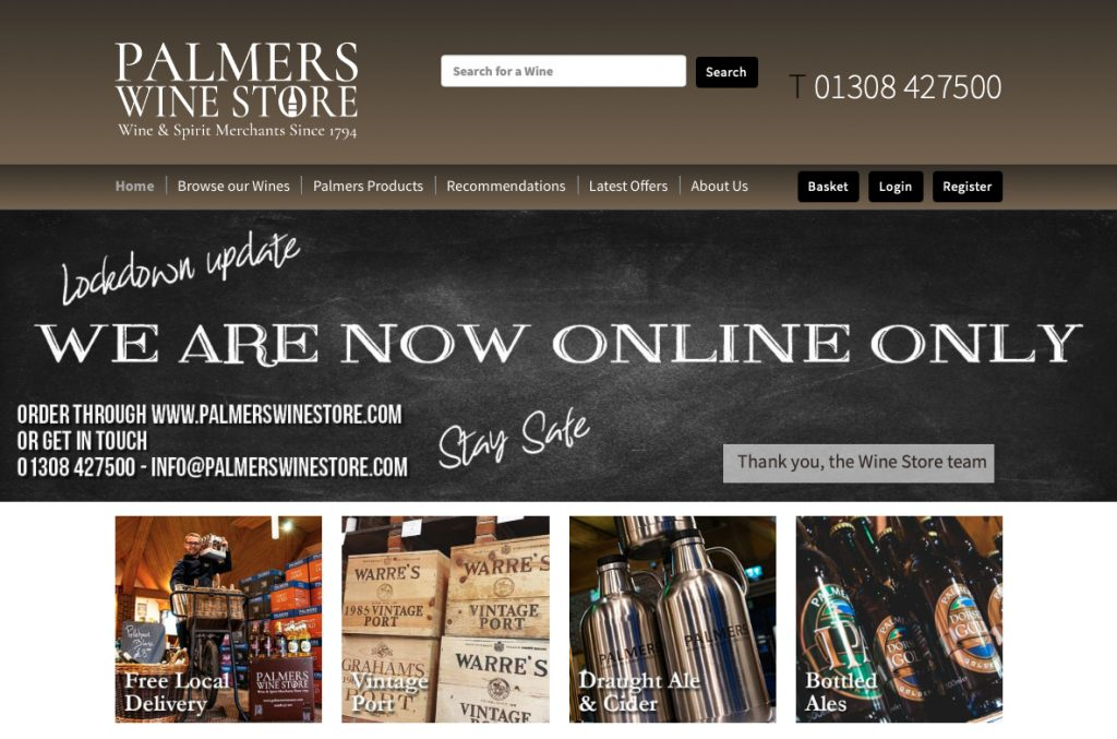 palmers wine store website homepage
